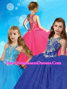 Romantic Beaded Scoop Little Girl Pageant Dress with Puffy Skirt