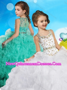 2016 Best Selling Beaded Bodice and Ruffled Little Girl Pageant Dress in Organza