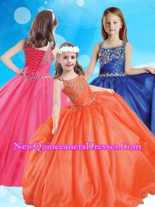 2016 New Arrivals Square Puffy Skirt Little Girl Pageant Dress with Beading