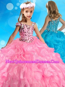 Beautiful Asymmetrical Neckline Rose Pink Cute Little Girl Pageant Dress with Beading and Ruffles