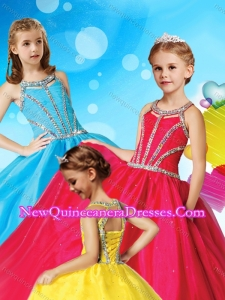 Classical Beaded Decorated Scoop Cute Little Girl Pageant Dress in Tulle