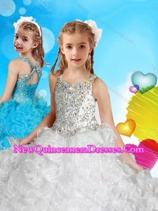 Delicate Straps White Cute Little Girl Pageant Dress with Beading and Ruffles