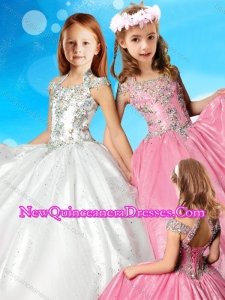 Elegant Beaded Decorated Halter Top and Bodice Cute Little Girl Pageant Dress