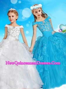 Exquisite Off the Shoulder Cute Little Girl Pageant Dress with Cap Sleeves
