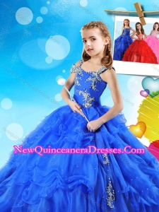 Fashionable Beaded and Ruffled Layers Cute Little Girl Pageant Dress in Royal Blue
