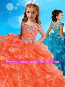 Fashionable Orange Cute Little Girl Pageant Dress with Beaded Decorated Cap Sleeves