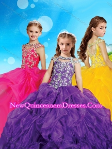 Gorgeous Scoop Cap Sleeves Cute Little Girl Pageant Dress with Beading and Ruffles