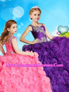 Latest Asymmetrical Neckline Cute Little Girl Pageant Dress in Rolling Flowers