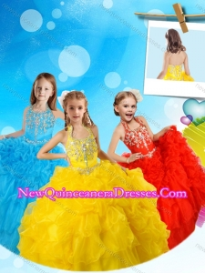 Most Popular Halter Top Yellow Cute Little Girl Pageant Dress with Beading and Pick Ups