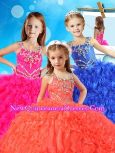 New Style Asymmetrical Neckline Cute Little Girl Pageant Dress with Beading and Ruffles