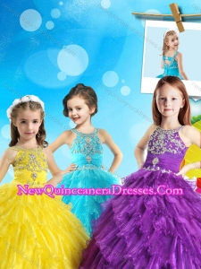 New Style Scoop Cute Little Girl Pageant Dress with Beading and Ruffled Layers