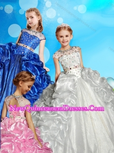 See Through High Neck Beaded Cute Little Girl Pageant Dress with Cap Sleeves