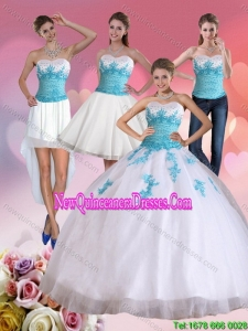 2015 Beautiful Strapless Beading and Appliques Detachable Quinceanera Skirts in White and Blue