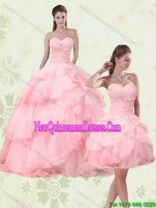 2015 Cute Sweetheart Beaded Detachable Quinceanera Skirts with Ruffled Layers