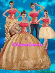2015 Gold Strapless Fashionable Quinceanera Dress with Beading and Embroidery