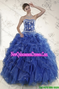 2015 New Style Royal Blue Fashionable Quinceanera Dresses with Beading and Ruffles