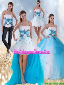 2015 Strapless Multi Color Detachable Quinceanera Skirts with Appliques and Beading