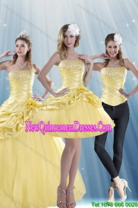 Brand New Strapless 2015 Strapless Beading Fashionable Quinceanera Dresses