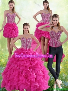 Hot Pink Sweetheart Detachable Quinceanera Skirts with Beading and Ruffles