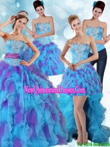 Multi Color Strapless Detachable Quinceanera Skirts with Ruffles and Sash