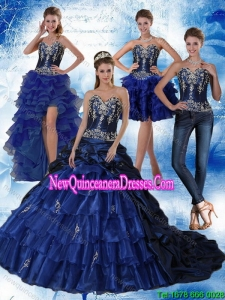 Navy Blue Sweetheart Fashionable Quinceanera Dress with Embroidery and Ruffles