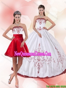 Pretty Strapless 2015 Perfect Detachable Quinceanera Skirts with Embroidery