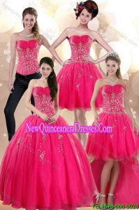 2015 Elegant Strapless Hot Pink Detachable Quinceanera Skirts with Appliques