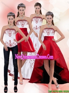 2015 Elegant Strapless Quinceanera Dress with Embroidery
