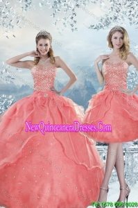 2015 New Style Beading Fashionable Quinceanera Dresses in Watermelon