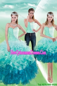 2015 Romantic Multi Color Detachable Quinceanera Skirts with Beading and Ruffles