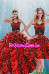 Beautiful Multi Color Beading and Ruffles Fashionable Quinceanera Dresses for 2015