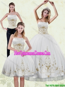 Modest 2015 Strapless Embroidery White and Gold Detachable Quinceanera Skirts