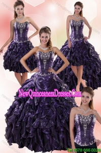 Sweetheart Ball Gown Purple Detachable Quinceanera Skirts with Embroidery