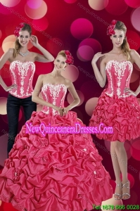 2015 Fashionable Pick Ups and Appliques Hot Pink Detachable Quinceanera Skirts