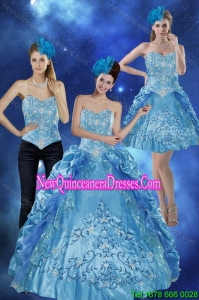 2015 Sweetheart Teal Detachable Quinceanera Skirts with Embroidery and Pick Ups