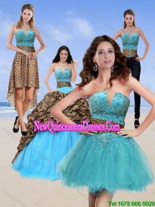 2015 Unique Leopard Print Baby Blue Detachable Quinceanera Skirts with Brush Train and Beading