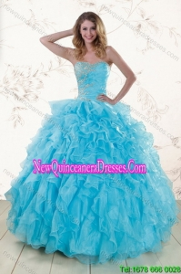 Baby Blue 2015 Elegant Sweet 16 Dresses with Beading and Ruffles