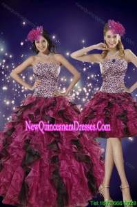 Elegant Multi Color Strapless Dress for Quince with Leopard Print