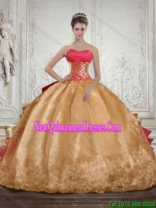 Elegant Strapless Multi Color Quinceanera Dress with Beading and Embroidery