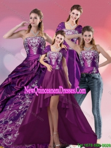 Embroidery Strapless Elegant Quinceanera Dress in Purple for 2015