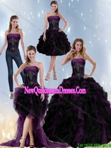 Exclusive Multi Color Detachable Quinceanera Skirts with Beading and Ruffles