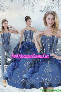 Wonderful Blue Detachable Quinceanera Skirts with Embroidery and Beading for 2015