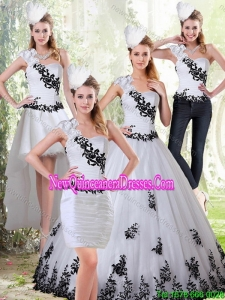 Elegant White and Black Sweetheart 2015 Quinceanera Dress with Black Embroidery
