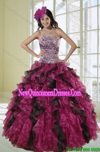 2015 Luxurious Ball Gown Dress for Quinceanera with Leopard Print