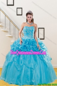 2015 Luxurious Quince Gown with Embroidery and Pick Ups
