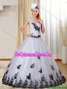 LuxuriousOne Shoulder White and Black Quinceanera Dress with Appliques for 2015