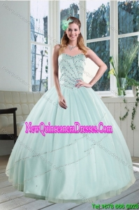 2015 Beautiful Apple Green Strapless Sweet 15 Dresses with Beading