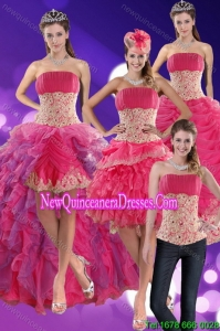 2015 Modest Beading and Lace Quinceanera Dresses in Hot Pink
