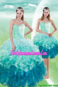 2015 Pretty Sweetheart Multi Color Quince Dresses with Beading and Ruffles