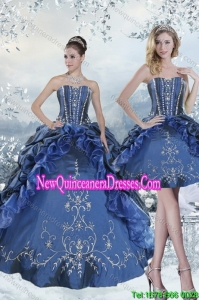 Custom Made Embroidery and Beading Blue Quince Dresses for 2015